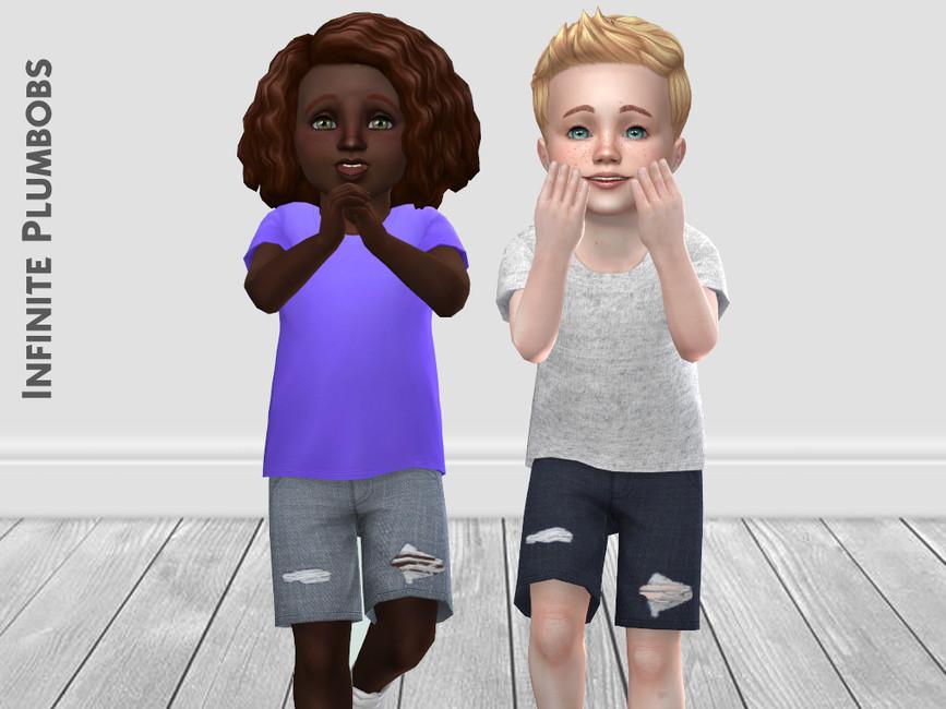 Джинсовые шорты для малышей Симс 4 (картинка 2)