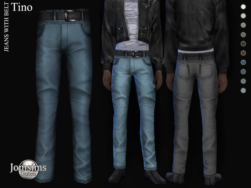 Джинсы Tino Jeans With Belt Симс 4