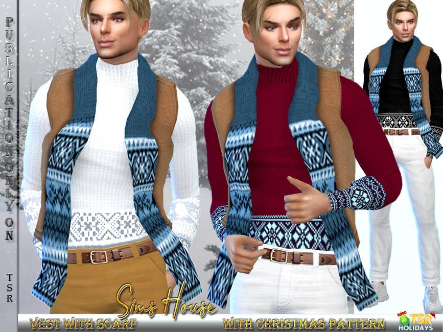 Мужская жилетка с шарфом Симс 4