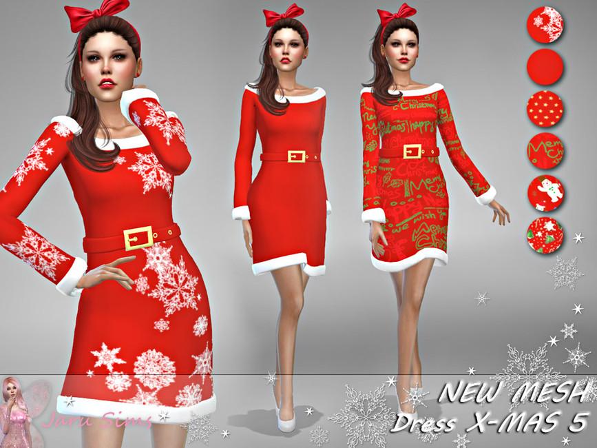 Новогоднее платье Симс 4