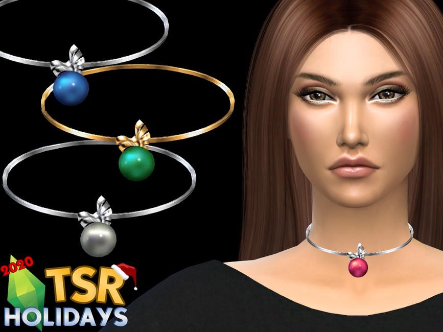 Ожерелье Christmas Ball Necklace Симс 4