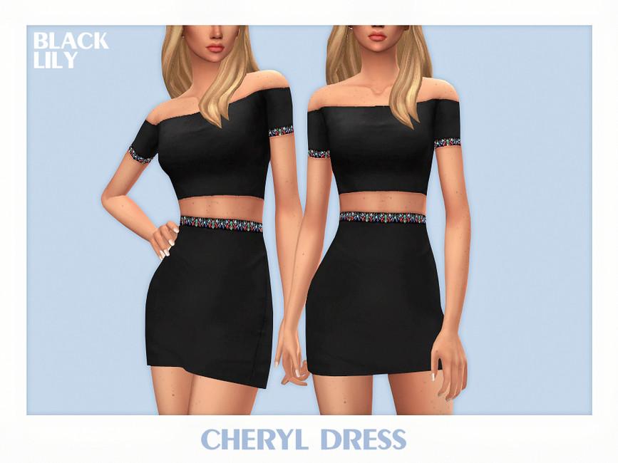 Платье Cheryl Dress Симс 4