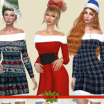 Платье Christmas Pattern Dress Симс 4