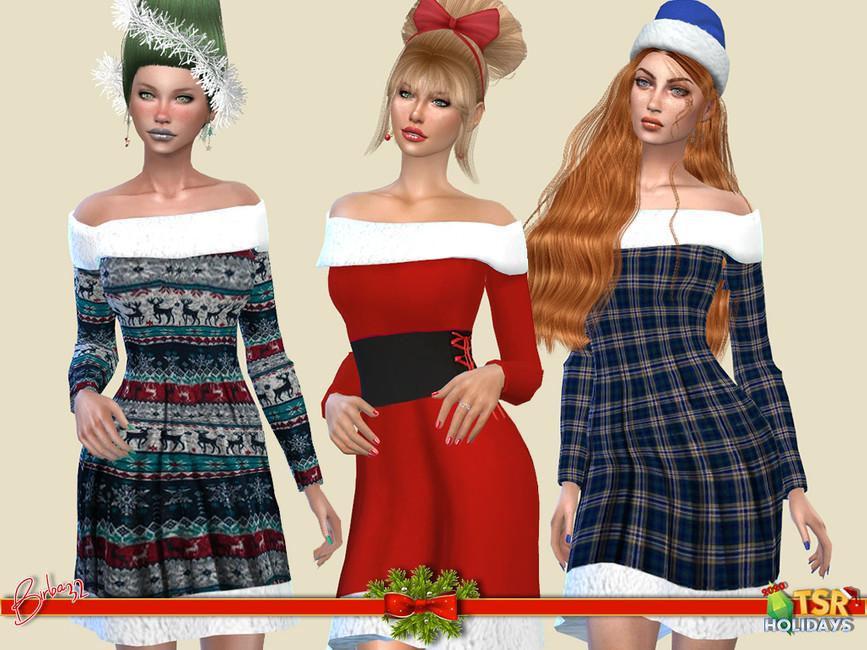 Платье Christmas Pattern Dress Симс 4