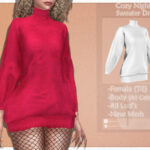 Платье Cozy Night's Sweater Dress Симс 4