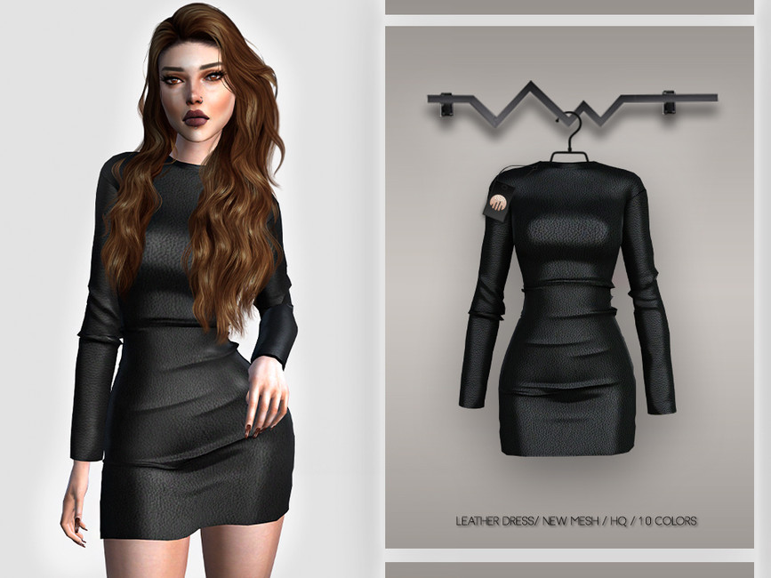 Платье Leather Dress BD388 Симс 4