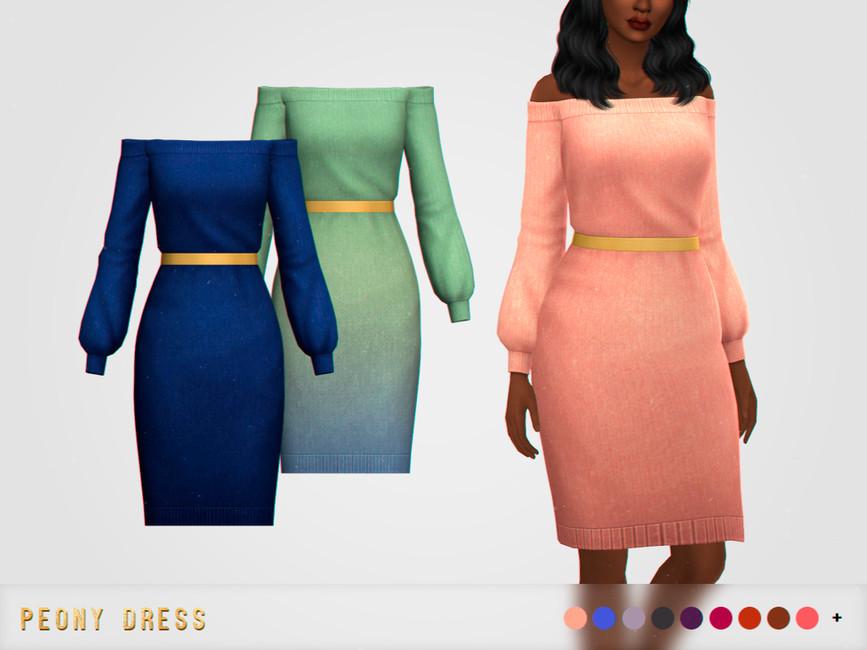 Платье Peony Dress Симс 4