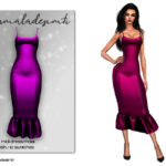 Платье Satin Frill Midi Dress MC113 Симс 4