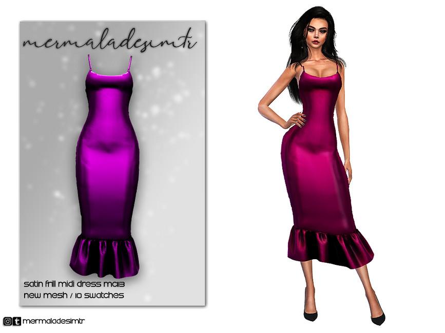 Платье Satin Frill Midi Dress MC113 Симс 4
