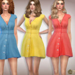 Платье V-Neck Flattering Mini Dress Симс 4