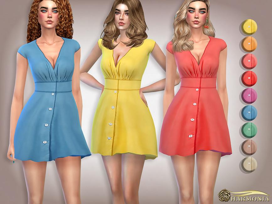 Платье V-Neck Flattering Mini Dress Симс 4