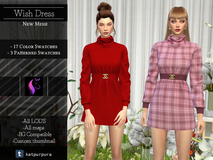 Платье Wish Dress Симс 4