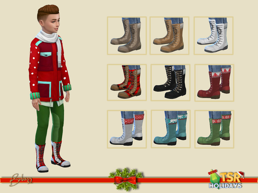 Рождественские ботинки для мальчиков Симс 4