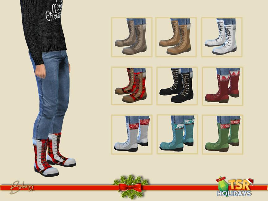 Рождественские ботинки для мужчин Симс 4