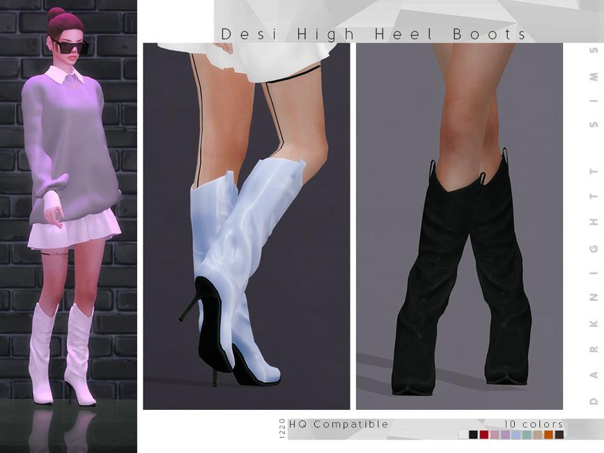 Сапоги на высоких каблуках Симс 4