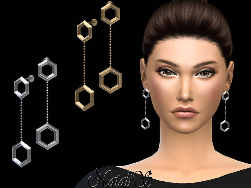 Сережки Hexagon Drop Earrings Симс 4