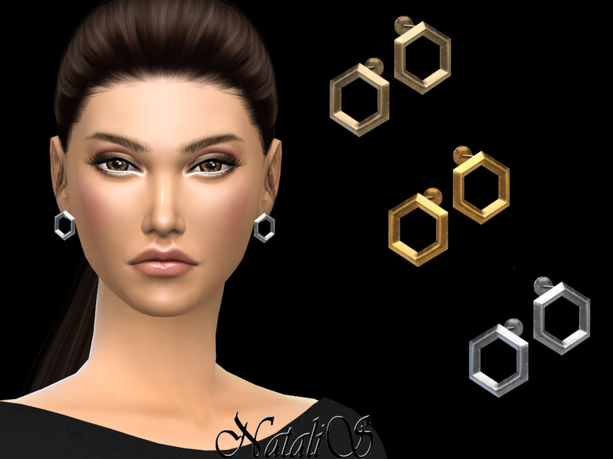 Серьги Hexagon Stud Earrings Симс 4