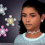 Серьги Snowflake Stud Earrings For Kids Симс 4