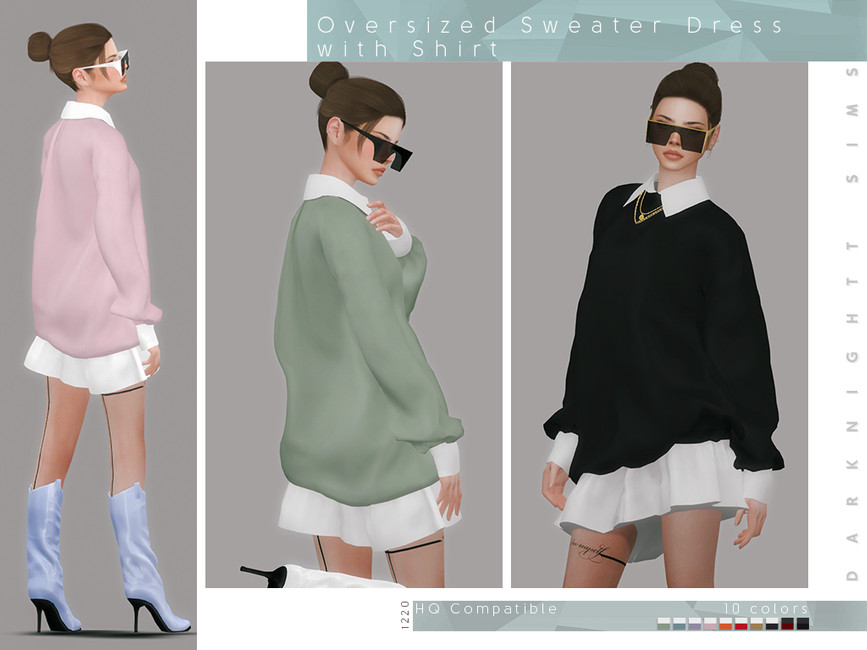 Свитер Oversized Sweater Dress with Shirt Симс 4 (картинка 2)