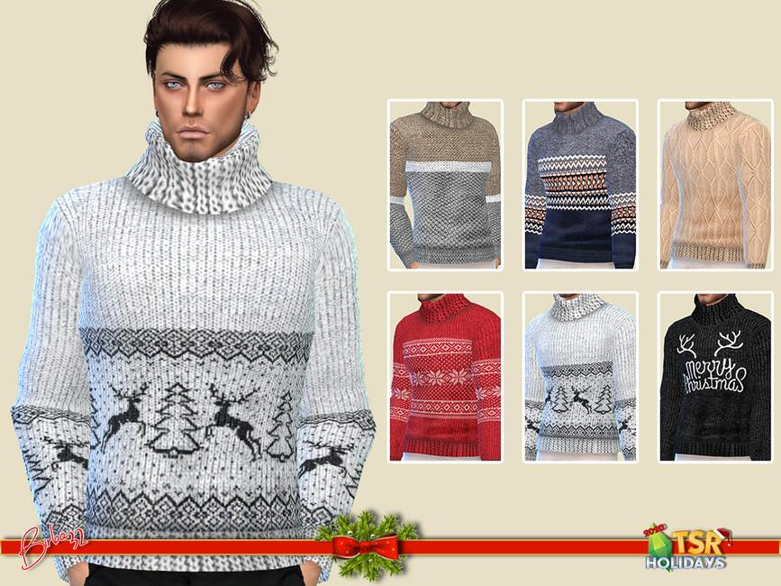 Свитер Sweater Big Collar Симс 4 (картинка 2)
