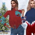 Свитер Women's Long Fringe Sweater Симс 4