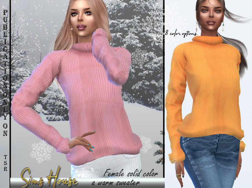 Свитер Women's Solid Warm Sweater для Симс 4