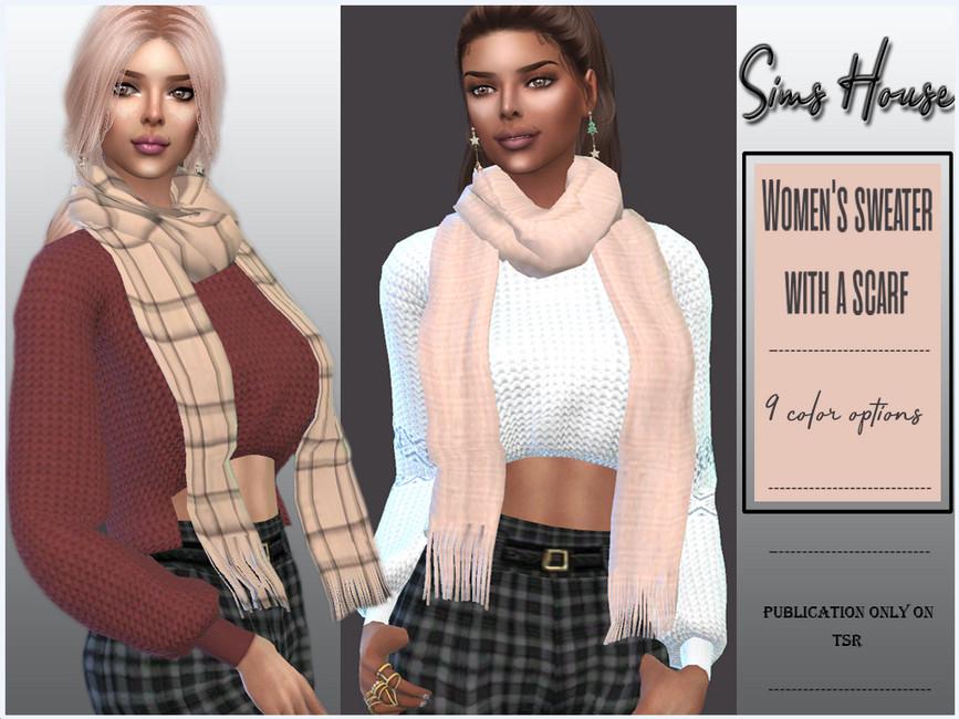 Свитер Women's Sweater With a Scarf Симс 4