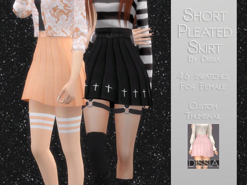 Юбка Short Pleated Skirt Симс 4