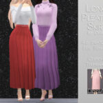 Юбки Long Pleated Skirt Симс 4