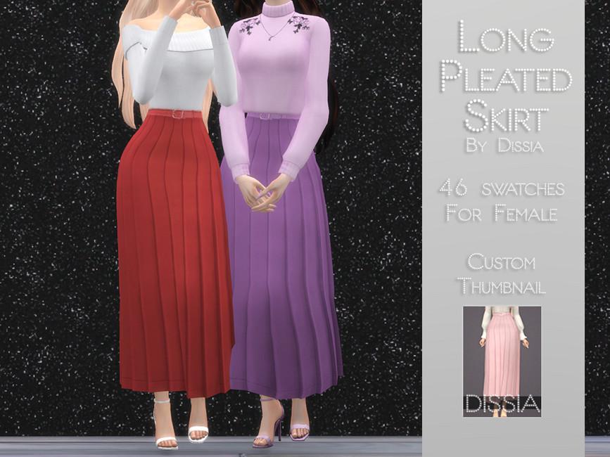 Юбки Long Pleated Skirt Симс 4