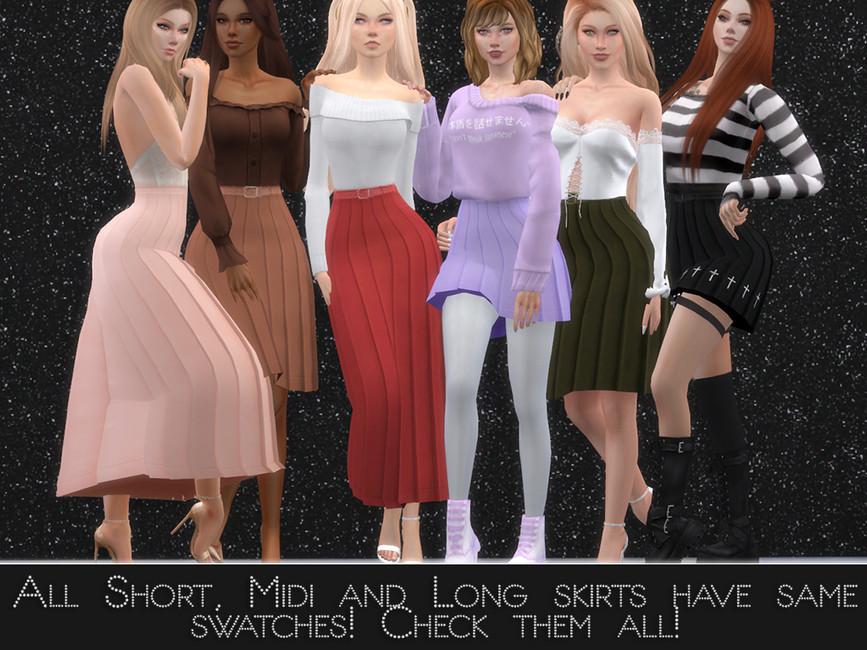 Юбки Long Pleated Skirt Симс 4 (картинка 2)
