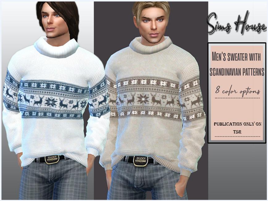 Зимний мужской свитер для Симс 4