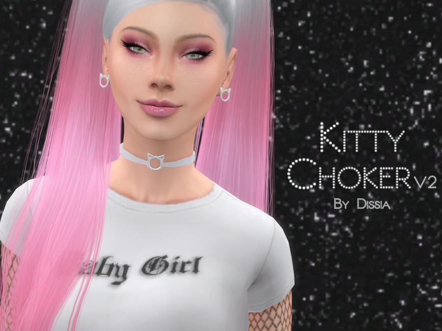 Чокер Kitty Choker v2 Симс 4