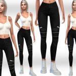 Джинсы Female Black Zipper Jeans Симс 4