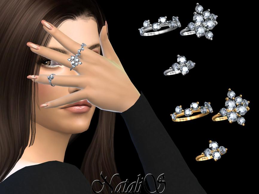 Кольца Diamond Cluster Rings Симс 4