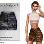 Кожаная мини юбка Симс 4