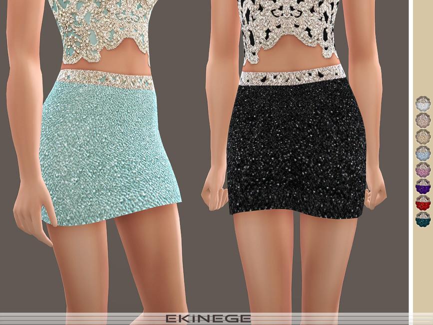 Мини юбка Beaded Mini Skirt Симс 4