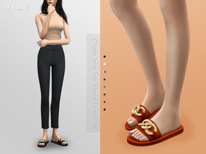 Обувь Chain Trim Low Heeled Sandals 01 Симс 4