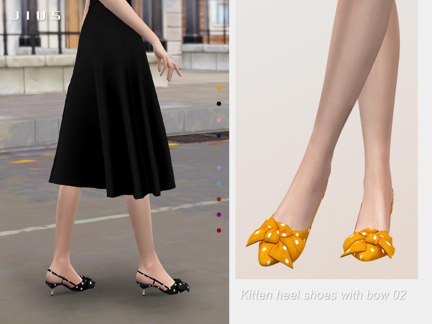 Обувь на каблуке Kitten Heel Shoes With Bow 02 Симс 4
