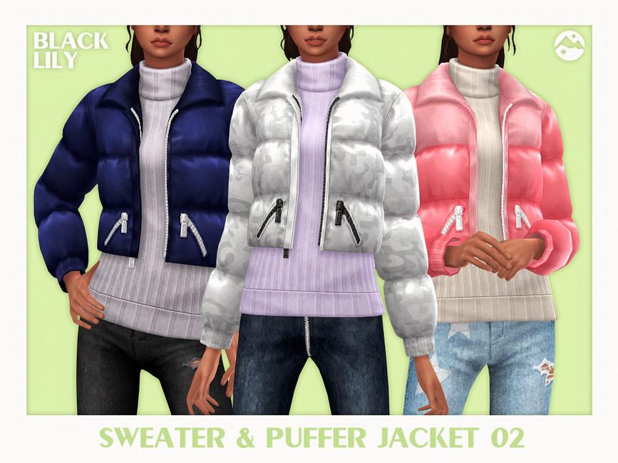 Одежда Sweater & Puffer Jacket 02 Симс 4