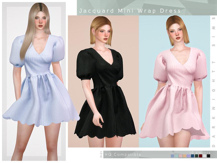 Платье Jacguard Mini Wrap Dress Симс 4