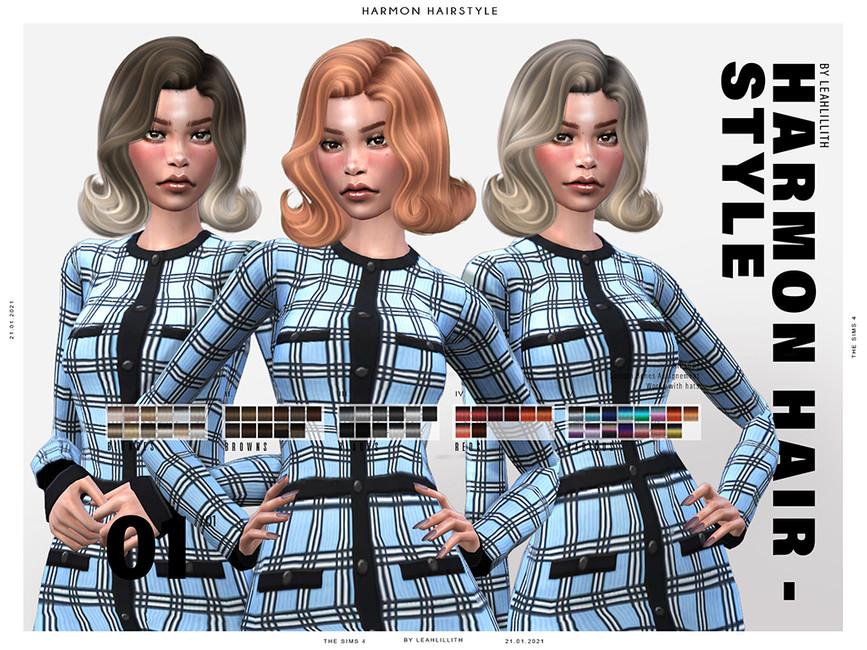 Прическа Harmon Hairstyle Симс 4