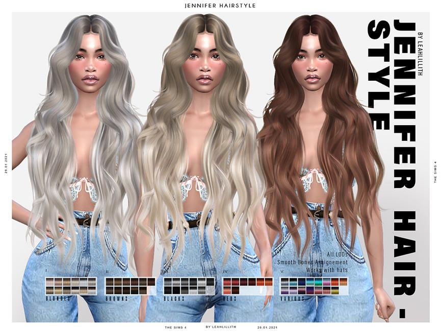 Прическа Jennifer Hairstyle Симс 4