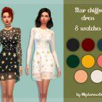 Прозрачное платье Star Chiffon Dress Симс 4