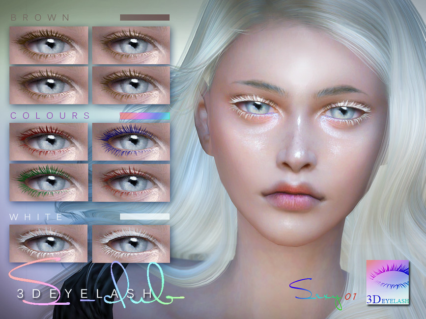 Ресницы 3d ts4 3D EYELASHES I F V2 colors Симс 4