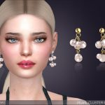 Сережки Pearl Cluster Drop Earrings Симс 4