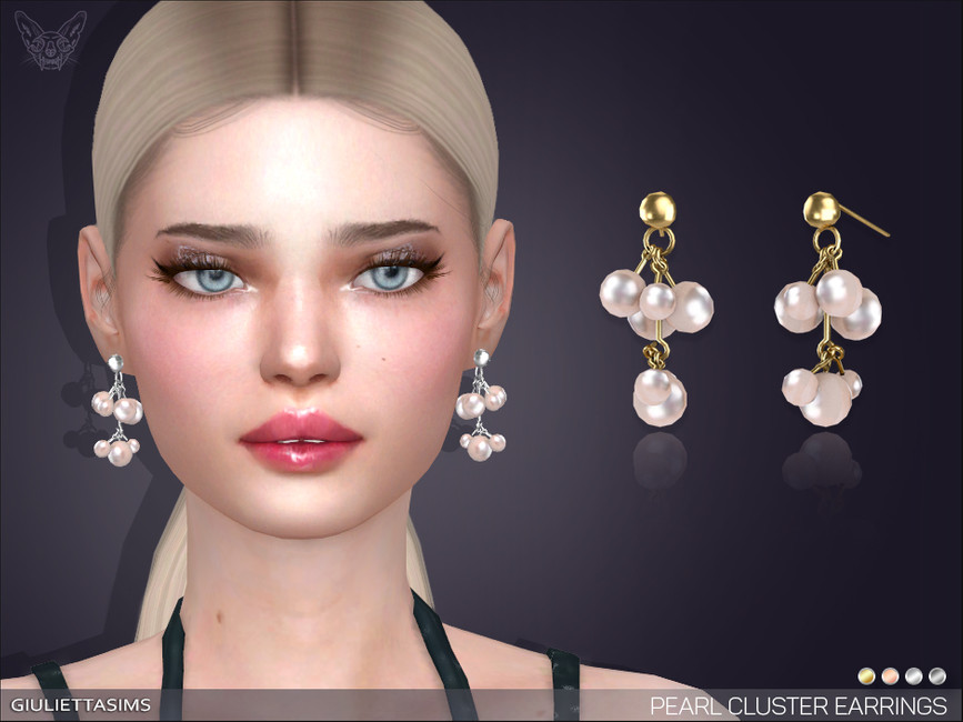 Сережки Pearl Cluster Drop Earrings Симс 4