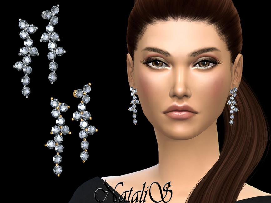 Серьги Diamond Cluster Drop Earrings Симс 4