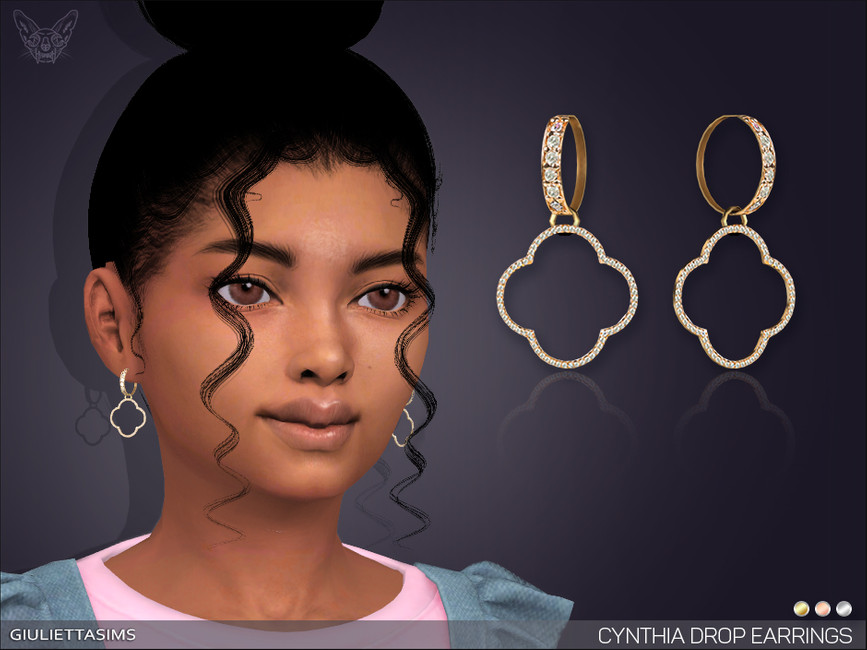 Серьги для детей Cynthia Drop Earrings For Kids Симс 4