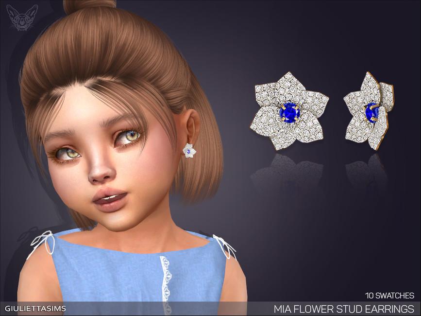 Серьги для детей Mia Flower Stud Earrings For Toddlers Симс 4